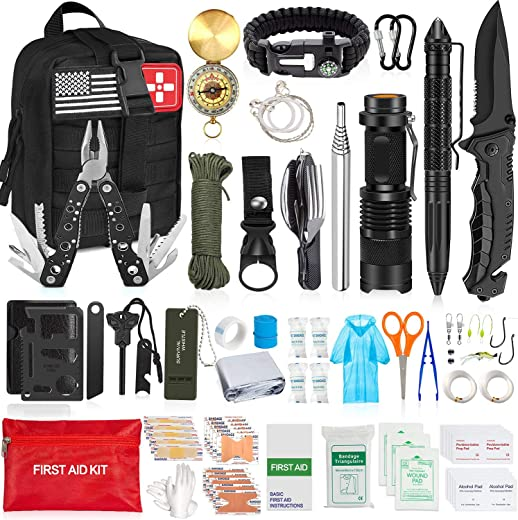 AOKIWO 126Pcs Emergency Survival Kit Professional Survival Gear Tool First Aid Kit SOS Emergency Survival Kit with Molle Pouch for Camping Adventures (Black)