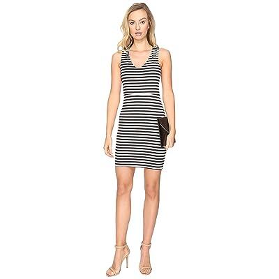 Jack by BB Dakota Geno Striped Ponte Bodycon Dress (Black) Women