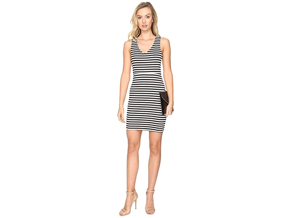 Jack by BB Dakota Geno Striped Ponte Bodycon Dress (Black) Women