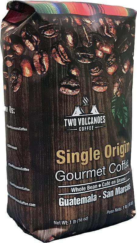 Two Volcanoes Coffee Gourmet Guatemala Whole Bean Medium Roast Single Origin Coffee 1 Lb