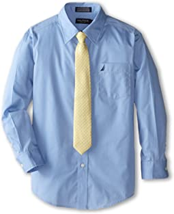 Nautica Kids - Long Sleeve Poplin Shirt/Tie Set (Big Kids)