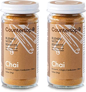 COUNTERTOP FOODS Chai Blend (2-Pack) - Turmeric Chai Spice Blend - Flavor Coffee & Baked Goods, Instant Golden Chai Milk or boost for Smoothies, Juice, & Tea Latte, 1.92oz