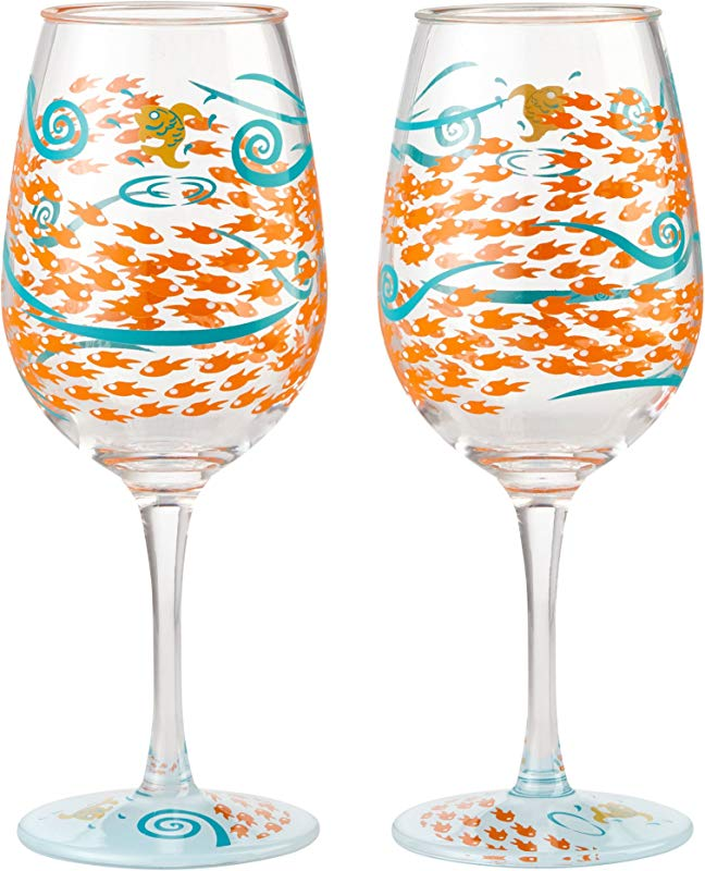 Enesco Designs By Lolita Fish Out Of Water Acrylic Wine Glasses Set Of 2 16 Oz