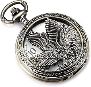 Eagle Design Pocket Watch Chain Quartz Movement Arabic Numerals Half Hunter for Eagle Scout