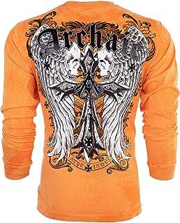 Affliction Archaic Men Long Sleeve T-Shirt Lustrous Skull Wings Biker