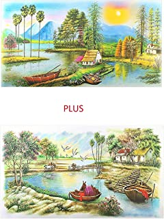 Set of 2 Beautiful Village Art Painting Fine Print Paper Posters Without Frame Multicolor (20 X 40 Inches)