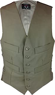 Mens FANTASTIC QUALITY 100% Cotton Moleskin Waistcoat with Adjustable Buckle Back and Satin Lining Button Front with 4 Poc...