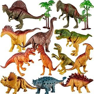 TOEY PLAY Dinosaure Figurine Jouet avec T-Rex Triceratop Stégosaure Arbres Réaliste Animaux Cadeau d'Anniversaire pour Enf...