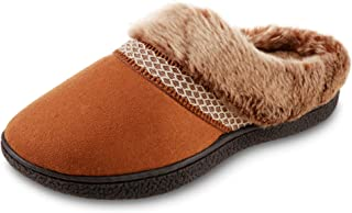isotoner Women's Recycled Microsuede Mallory Hoodback Slipper, Cognac, 8.5-9
