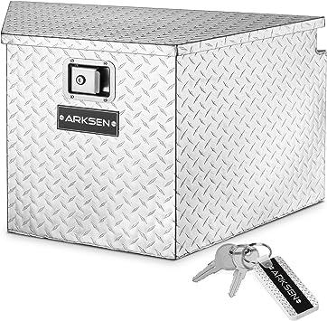 "ARKSEN 33"" Diamond Plate Aluminum Trailer Tongue Box Pickup Truck Tool Box Storage Organizer With Lock Key, Silver: image"
