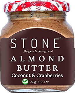 Stone Gourmet Keto Vegan Organic All Natural Almond Butter(Badam) with Coconut & Cranberries (Stone Ground)-250 gm