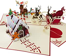 Pop Up Card 3 Pack | Handmade Greeting Cards Assortment for Holidays | Pop Up Christmas Cards | Xmas Cards for Kids, Mom, Dad | Season Greetings Cards | 3D Cards | Santa, Gingerbread House, Reindeer