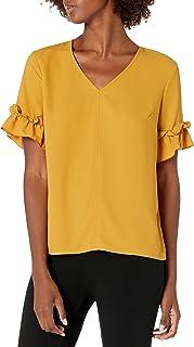 Lark & Ro Blusa de Cuello en V con Volantes Blusa para Mujer