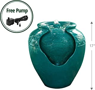 Peaktop YG0037A Outdoor/Indoor Garden Water Glazed Pot Floor Fountain with LED Light, 17