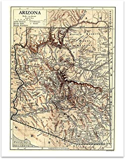 State Of Arizona Vintage Map - 11 x 14 Unframed Print - Great Housewarming Gift for the Arizonan in Your Life