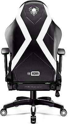 Diablo X-Horn Sedia Gaming Ufficio Braccioli 3D Design Ergonomico Collo//Cuscino Lombare Finta Pelle Meccanismo Oscillante Bianco, L
