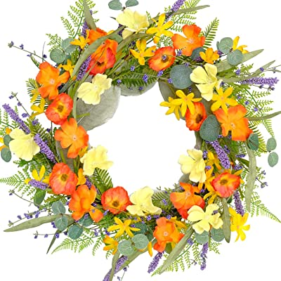 Bibelot Artificial Bright Floral Wreath Poppy Fake Yellow Flowers and Lavender,Green Leaves Wreath for Summer& Fall for Farmhouse Patio Porch Perfect Flower Decoration for Front Door Wall Decor