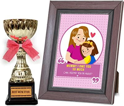 TIED RIBBONS Mothers Day Gift for Mother in Law | Gifts for mom on Mothers Day Golden Trophy and Mother's Day Special Quoted Frame