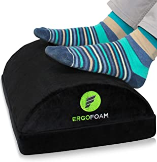 ErgoFoam Adjustable Foot Rest Under Desk for Added Height | Large Premium Velvet Soft Foam Footrest for Desk | Most Comfortable Desk Foot Rest in The World for Back, Lumbar, Knee Pain (Black)