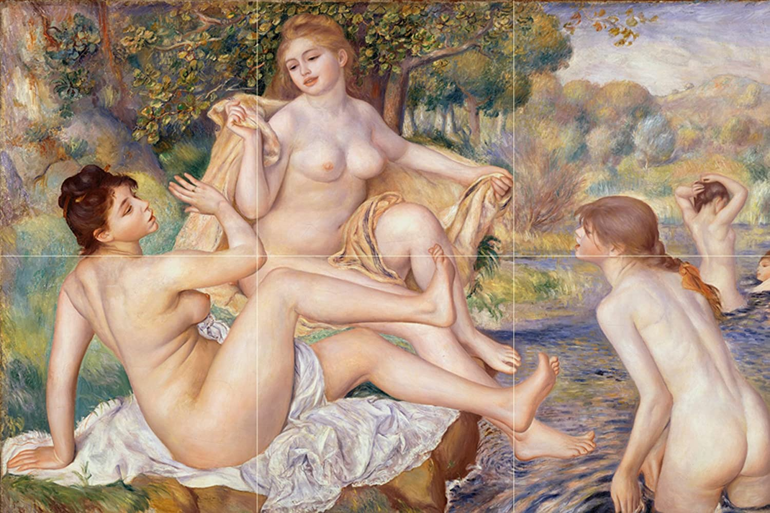 Tile Mural San Francisco Mall French The OFFicial mail order Large by Bathers Pierre-Auguste_Reno Girls