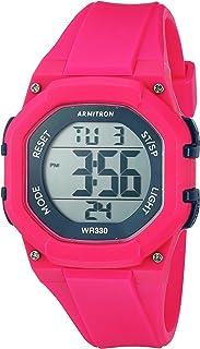 ساعة أرمترون سبورت النسائية 45/7080MAG باللون الأزرق الداكن مع كرونوغراف رقمية بحزام من الراتنج باللون الوردي الساخن