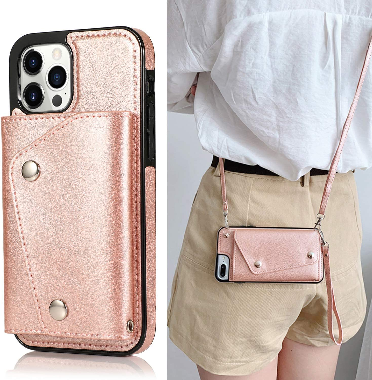 LUVI iPhone 12/iPhone 12 Pro Wallet Card Holder Case with Crossbody Neck Strap Lanyard Handbag Wrist Strap PU Leather Flip Cover with Credit Card Slot Kickstands Stand Case 6.1 inch Rose Gold