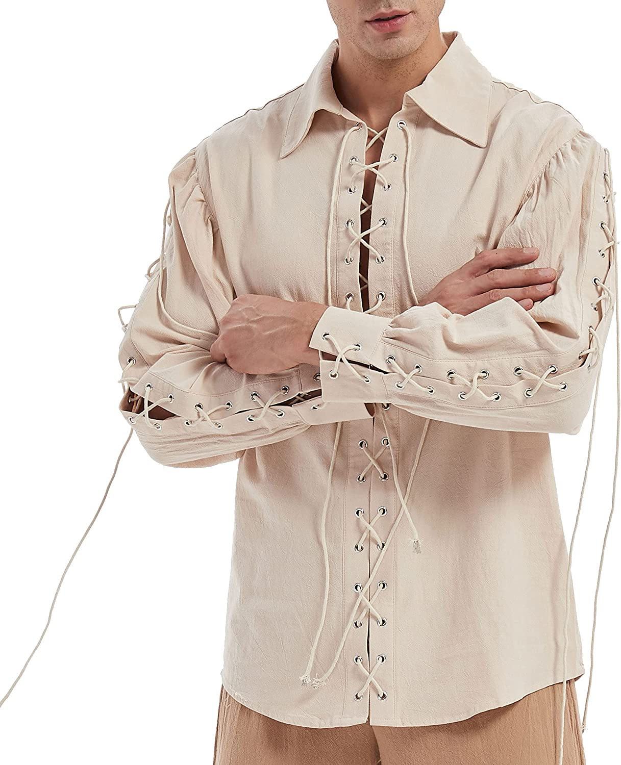 Moomphya Men's Super-cheap Medieval Pirate Gothic Sleeve Long Opening large release sale Lace-Up Renais