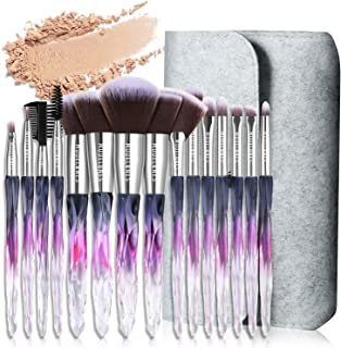 Modelones 15 PCs Makeup Brushes, Acrylic Handle Series Professional Premium Synthetic Cosmetic Brushes for Blending Foundation Powder Blush Concealers Highlighter Eye Shadows Brushes Kit