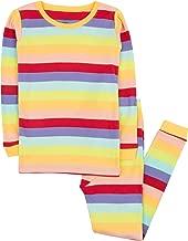 Leveret Striped Kids & Toddler Girls Pajamas 2 Piece Pjs Set 100% Cotton Sleepwear (Toddler-14 Years)