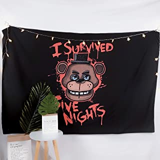 Cxiuxiu Tapestry Wall Hanging, Wall Tapestry with I Survived Five Nights at Freddy's Pizzeria Home Decorations for Living Room Bedroom Dorm Decor 6078