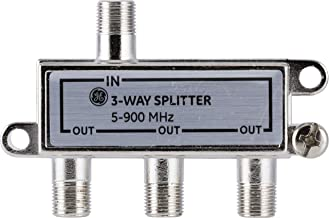 GE 3-Way Coaxial Cable Splitter, 5-900 Mhz Range, RG59 RG6 Coax Compatible, Audio, Video, Works with HD TV, Cable, Amplifiers, Amplified Antennas, Nickel, Corrosion Resistant, 35048