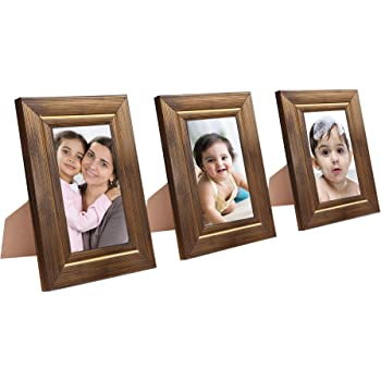 Amazon Brand - Solimo Collage Photo Frames, Set of 3, Tabletop (3 pcs - 5x7 inch), Golden