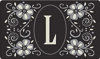 Toland Home Garden Classic Monogram L 18 x 30 Inch Decorative Floor Mat Flower Design Pattern Doormat