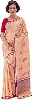 SareesofBengal Women's Khadi Cotton Jamdani Dhakai Saree Checkered Tangail Tant Handloom Peach