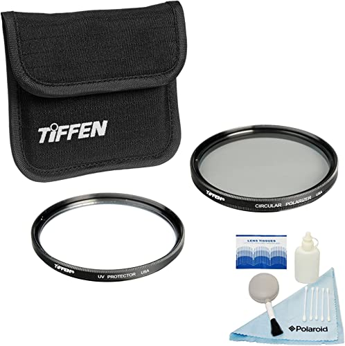 Tiffen 77mm Photo Twin Pack - UV Protection and Circular Polarizing Filter for Camera + Free 5 Piece Camera Cleaning Kit – Work with Canon, Nikon, Sony and All Auto-Focus SLR Cameras