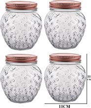 500 ml Glass Jar Canister Storage Container Air Tight Lid Kitchen Food Organizer for Pickle Spices Jam Pulses Preservation Set of 4