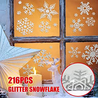 216 pcs Glitter Snowflake Window Clings Static Decal Vinyl Wall Stickers for Christmas Window Decorations,Xmas Ornaments,Winter Wonderland,Holiday,Shop,Home Décor Reusable Assorted Designs 12 Sheets