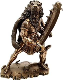 Gifts & Decor HERACLES Hercules Holding Club with NEMEAN Lion Skin Armor Sculpture Figurine