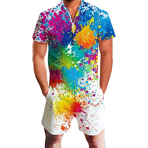 841114b9bdce Goodstoworld Mens Romper Suits 3D Graphic Printed Zip Up Jumpsuit Grandad  Shirt Summer Outdoor Onesies