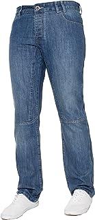 ENZO Mens Stonewash Black Classic Straight Fit Denim Designer Jeans Pants