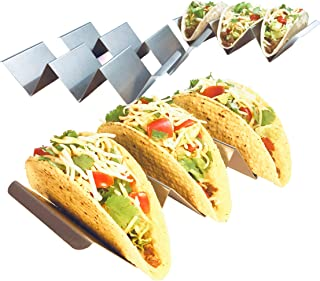 4 Pack Jumbo Stainless Steel Taco Holder Stand - Taco Tray - Enhanced Durability Restaurant Grade Stainless Steel for Fuller Sized Tacos - Oven, Grill and Dishwasher Safe - Metal Taco Stand Racks