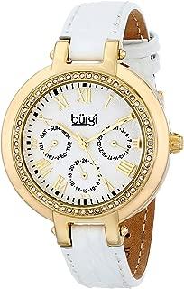 Burgi Women's BUR085YGW Analog Display Japanese Quartz White Watch