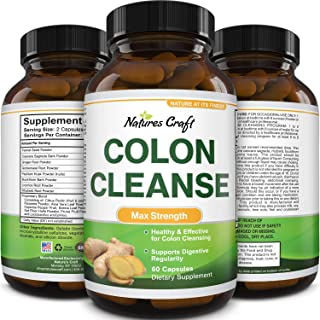 Colon Cleanser & Detox - Lactobacillus Acidophilus Probiotic Supplement Body Cleanse - Psyllium Husk Capsules Gut Health S...