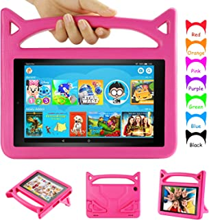 Amazon Fire HD 8 Tablet Case, Fire 8 Kids Case - Auorld Light Weight Shock Proof Kids Case for Kindle Fire 8 Tablet (Compatible with 6th/7th/8th Generation, 2016/2017/2018 Release) Pink