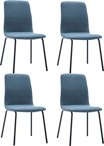 Kitchen Dining Chairs Set Of 4 Waterproof Fabric Side Chairs Sturdy Metal Legs Home Kitchen Living Room Table Blue