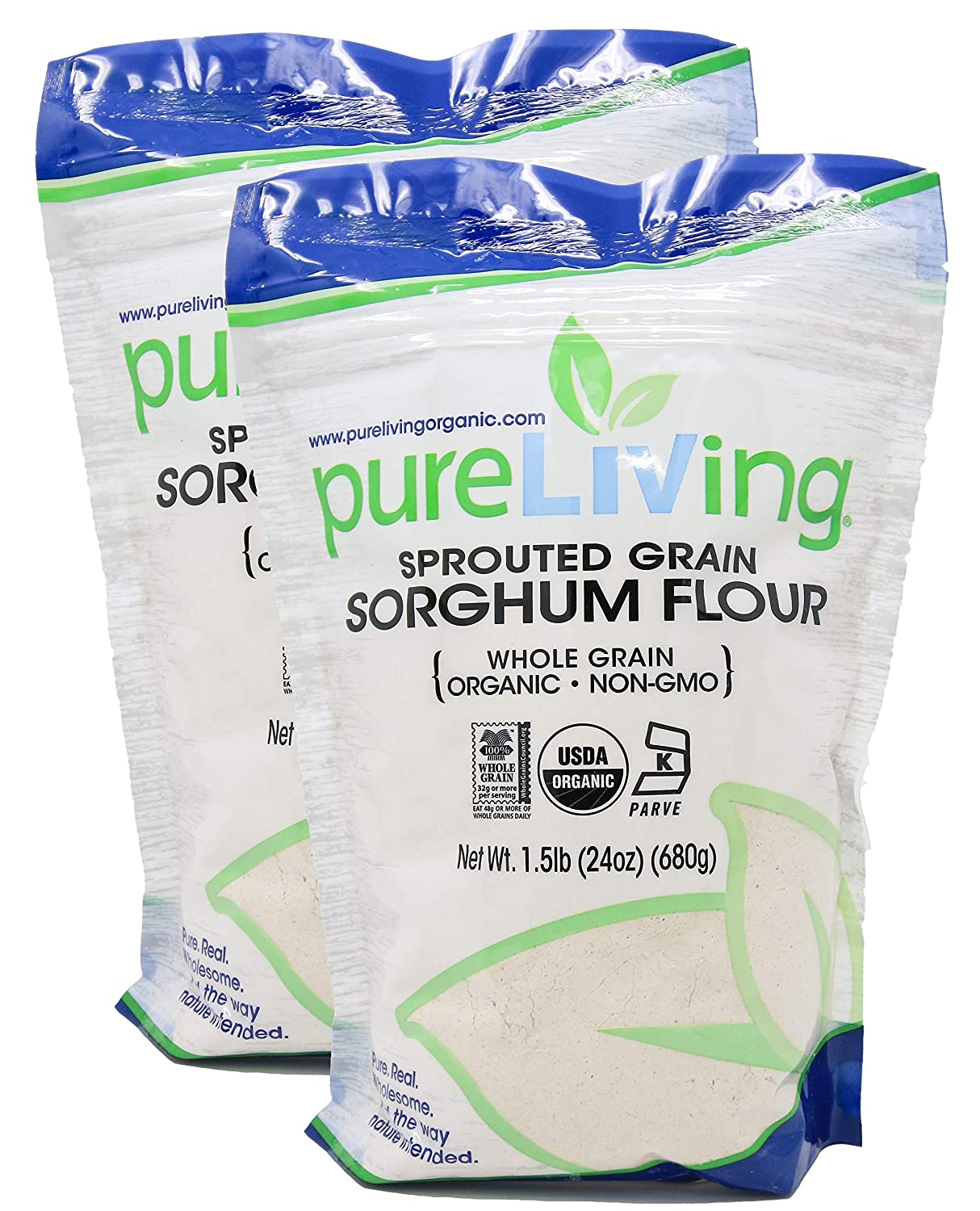 PureLiving - Organic San Diego Mall Sprouted Sorghum 24 Flour In a popularity Ounce 2 Pack