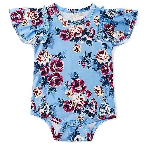 ef396496ba39 Goodstoworld Baby Girls Boys Ruffle Romper Short Sleeve Cute Jumpsuit (0-24  Months)