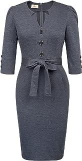 Women Retro 3/4 Sleeve Work Office Business Pencil Dress with Belt