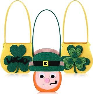 3 Piece St. Patricks Day Felt Cauldron St. Patrick`s Day Decorations Felt Cauldron Pots with Handle Lucky Shamrock Leprech...
