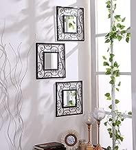 Hosley Decorative Square Iron Wall Mirror (15.24 cm x 29.84 cm, Black, Set of 3)